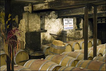 Vin på ekfat, hos vingården Haut maurin, i lilla Donzac.
