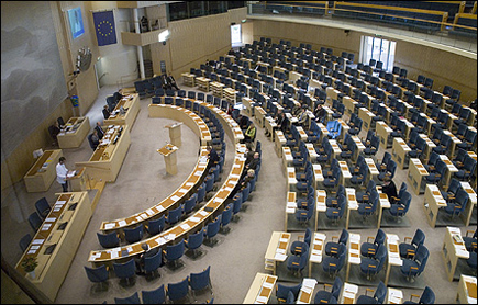 Plenisalen i Sveriges Riksdag - framtida arbetsplats?