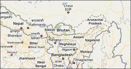 Google Maps i Indien - här finns Arunachal Pradesh med, om än med viss tveksamhet.