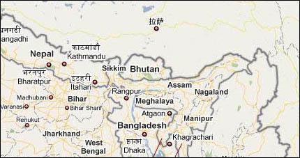 Google Maps i Kina - här finns plötsligt inte Arunachal Pradesh, annat än som en obenämnd del av Kina.