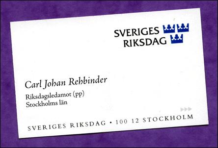 Visitkort för riksdagsledamot
