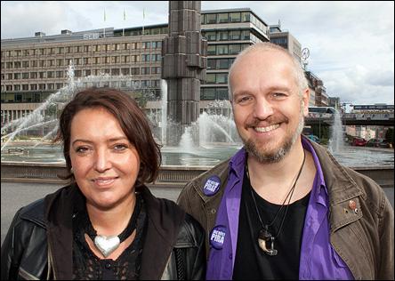 Camilla Lindberg och jag vid Sergels Torg