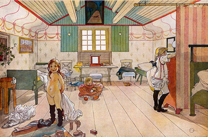 Naket barn i en teckning av Carl Larsson - en barnpornografisk bild?