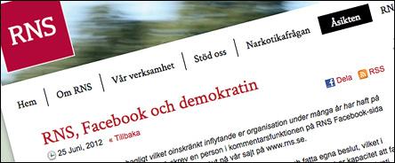 RNS, Facebook och demokratin