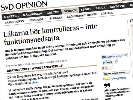 SvD Opinion oktober 2012