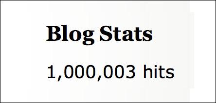 Blog Stats 1,000,003 hits