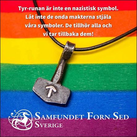 Torshammare med Tyrruna på regnbågsflagga